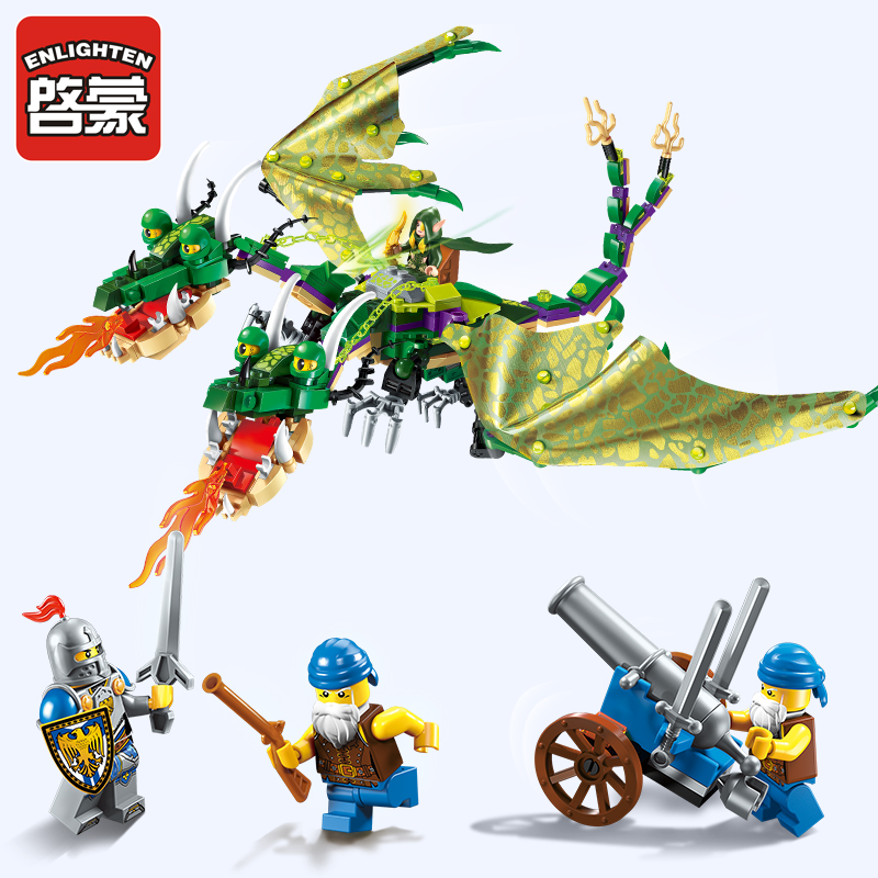 2311 ENLIGHTEN War of Glory Castle Knights Twin Headed Dragon Model Building Blocks Figure Toys For Children Compatible Legoe enlighten new 2315 656pcs war of glory castle knights the sliver hawk castle 6 figures building block brick toys for children