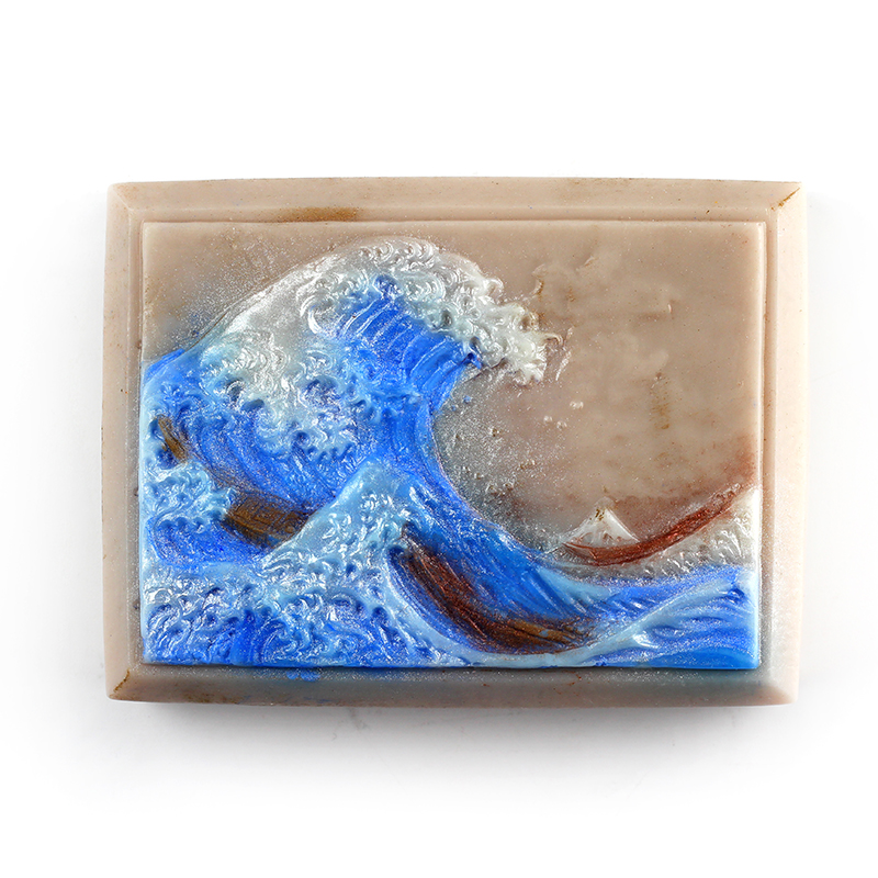 Nicole Silicone Soap Mold Square With Wave Painting Pattern For Natural Handmade Chocolate Candy Mould