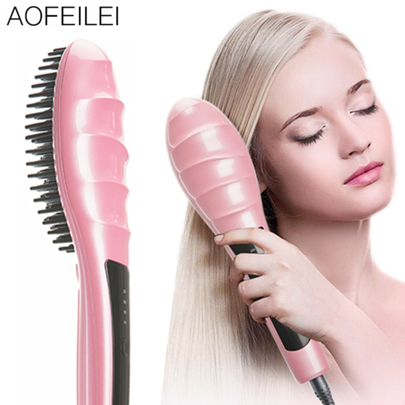купить Hair Straightener Ceramic Electric Hair Brush Hair Straightener Comb Straightening Straight Anion Moisturizing Styling Tool Care по цене 2699.5 рублей