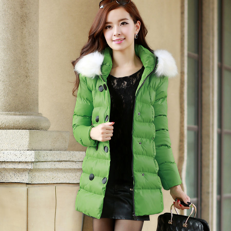 2013 Winter New Korean Women Slim Fur Collar Down Coat Female Long Thick Cotton Padded Coat Double-Breasted Down Jacket H1146