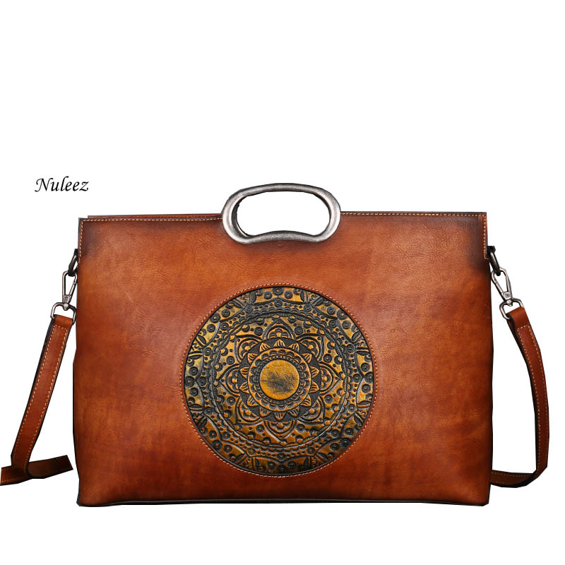 Nuleez genuine leather metal handle tote-bag women Chinese national style popular fashion bag 2018 ноутбук hp 15 rb027ur amd a4 9120 2200 mhz 15 6 1366x768 4gb 500gb hdd dvd rw amd radeon r3 wi fi bluetooth windows 10 home