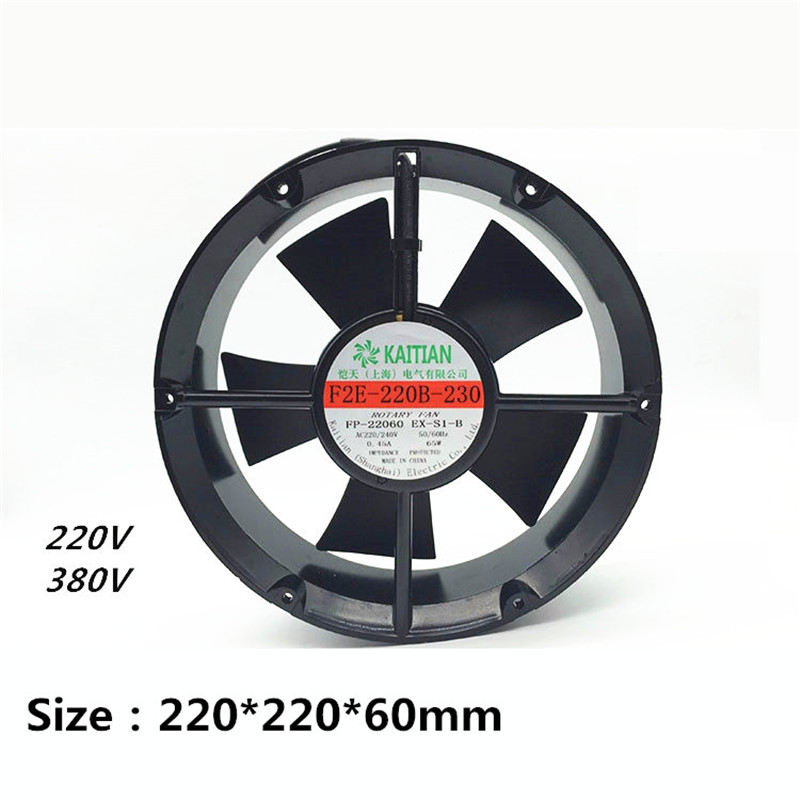 F2E-220B-230 220*220*60mm 220V/380V 0.45A 65W Axial Fan Cabinet Cooling Fan Small Blower f2e 150b 230 axial cooling fan ac 220v 240v 0 22a 38w 2600rpm 17250 17cm 172 150 50mm 2 wires 50 60hz