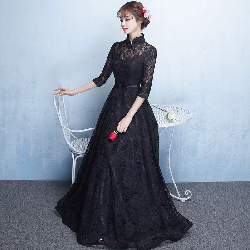 Black Sexy Elegant Chinese Style Qipao Big Size 3XL Vestidso Lace Elegant Women Cheongsam Classic Evening Party Dresses S-120