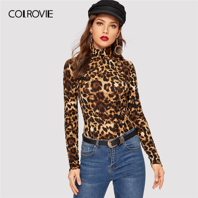 aaf188325a04 COLROVIE Leopard Print Turtleneck Slim Fit Party T-Shirt Women 2019 Spring  Streetwear Fashion Long
