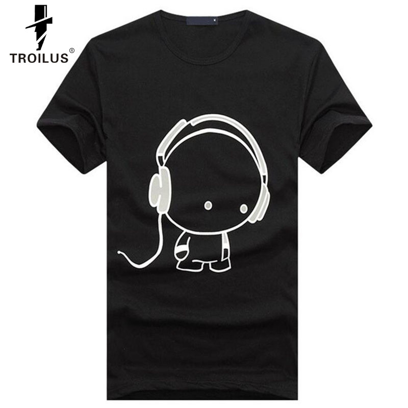 New Summer Fashion T-Shirt Men Boy Cotton Tees Tops Short Sleeve Shirts Earphone Casual T Shirt Male Headphone Tshirt Clothes