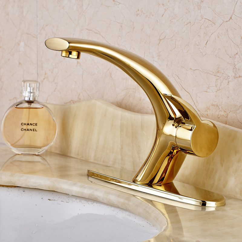 Free Shipping New Design Gold Finished Deck Mounted Bathroom Sink Faucet Mixer Tap With Cover Plate free shipping gold clour solid brass bathroom sink faucet new bathroom mixer tap square design