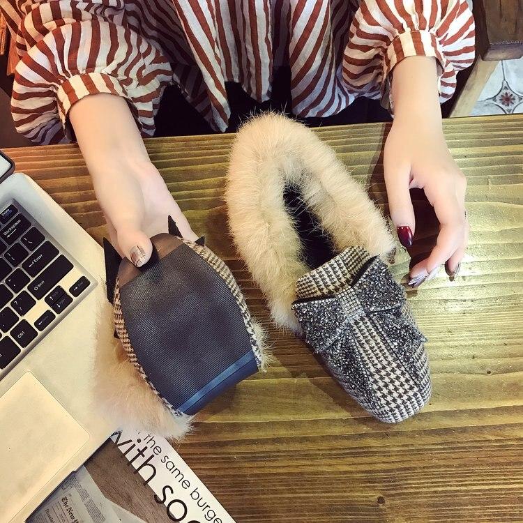 Chaussures À Cristal En Mules Strass Femmes Designer D'hiver Peluche Semelle Pantoufle kaki Gris Lapin Slippony Naturel Diapositives Arc Fourrure w8Z08CAq