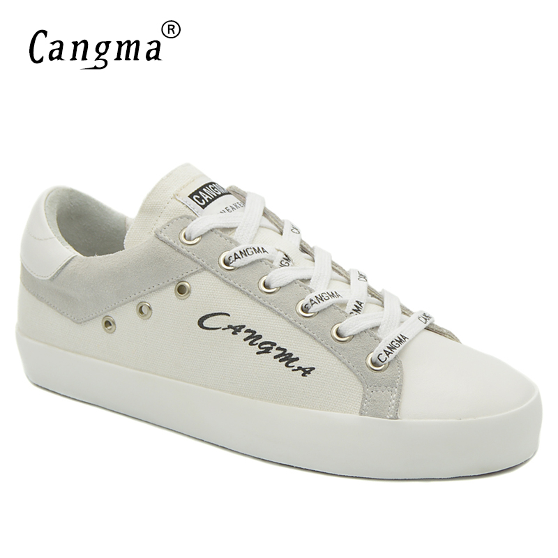 CANGMA Luxury Canvas Sneakers Fashion Woman Shoes Spring Autumn Handmade Ladies Shoes Womens Original Lace-up White Footwear