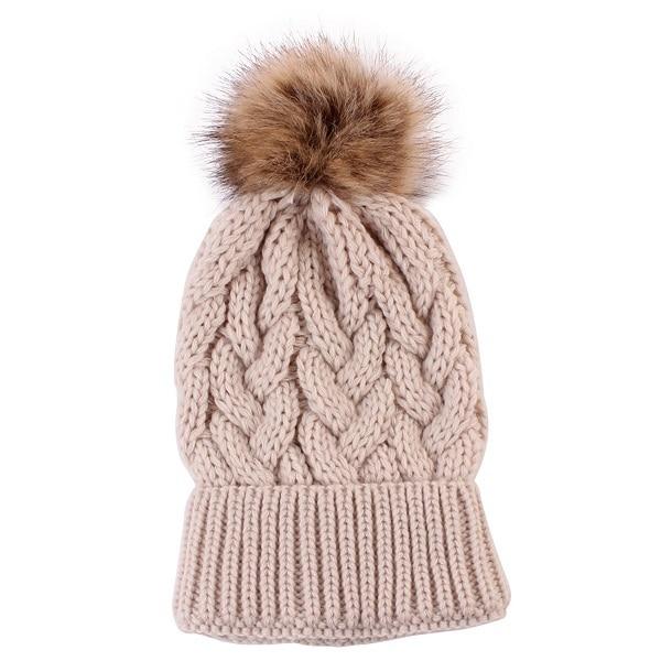 Winter Hat For Women Girls Kids Hat Mink And Fox Fur Ball Cap Pom Poms Knitted Beanies Cap Brand New Thick Female Cap
