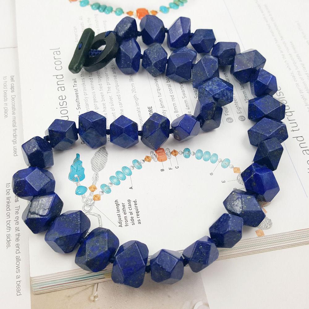 Natürliche Lapislazuli Faceted Hand Geschnitten Perlen 12x16mm Knebelverschluss Halskette-in Anhänger aus Schmuck und Accessoires bei  Gruppe 3