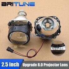 "Upgrade 8.0 Mini 2.5"" HID Bixenon Projector Lens Lenses in Headlight LHD RHD W/WO Gatling Gun Shrouds Silver Black H1 H4 H7"