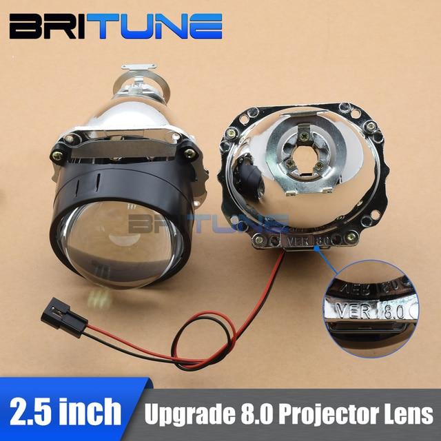 Special Price Upgrade 8.0 Mini 2.5'' HID Bixenon Projector Lens Lenses in Headlight LHD RHD W/WO Gatling Gun Shrouds Silver Black H1 H4 H7