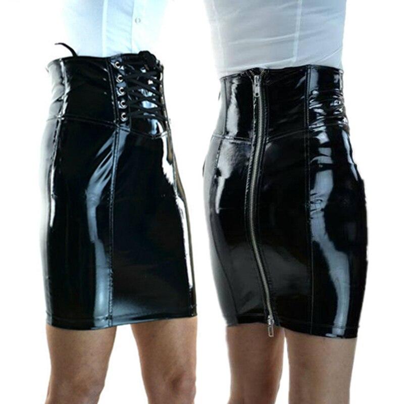 c9f21bc1f Las mujeres falda de PVC traje gótico de Bodycon cremallera lápiz mojado  corsé