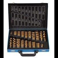 VidaXL Box Verpackung HSS Twist Bohrer Set 1 5 10mm Titan Beschichtete Oberfläche 118 Grad Für Bohren Holzbearbeitung-in Bohrkronen aus Werkzeug bei