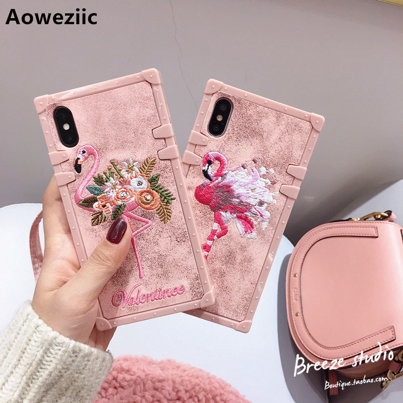 Aoweziic Embroidered flamingo For iPhone X 8 7plus phone case 6s soft shell silicone anti-knock lanyard female models