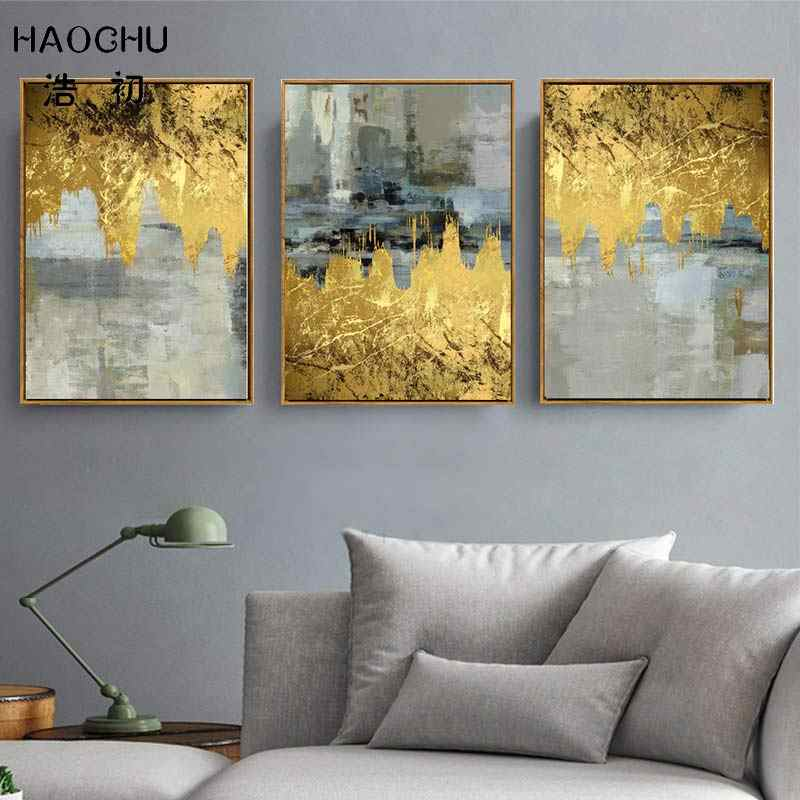 HAOCHU European classical gold foil abstract pattern art deco poster wall decoration picture wall stickers art space painting