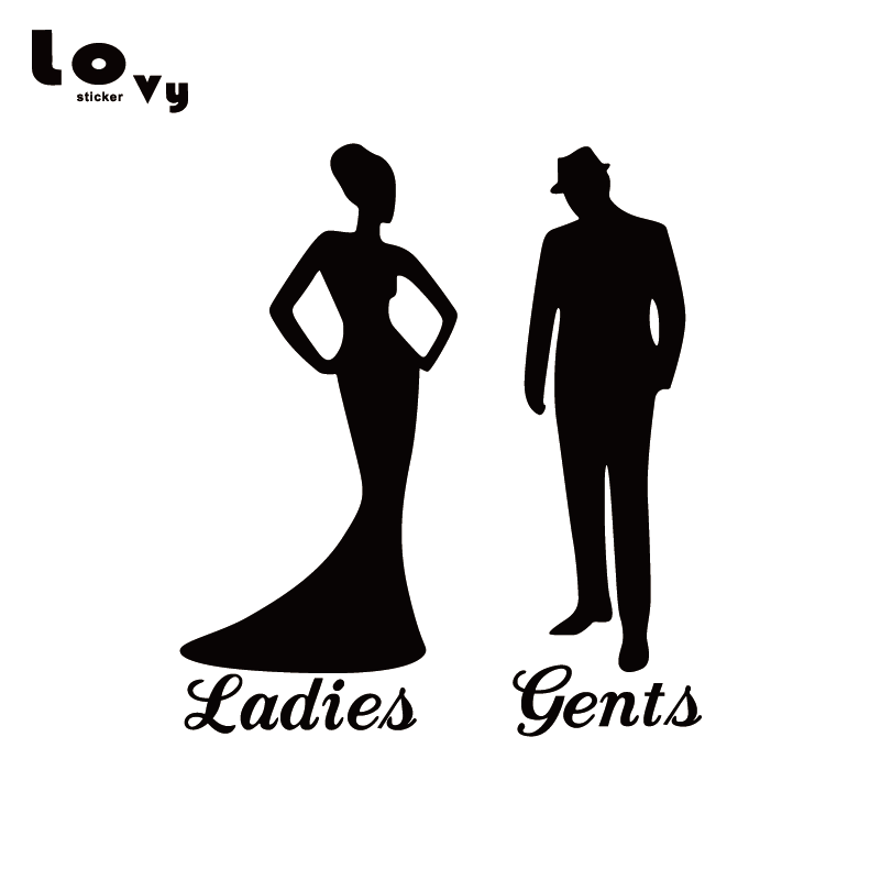 Man Woman Toilet Sign Vinyl Wall Sticker Creative WC Ladies Gents Sign Door Decal TS086