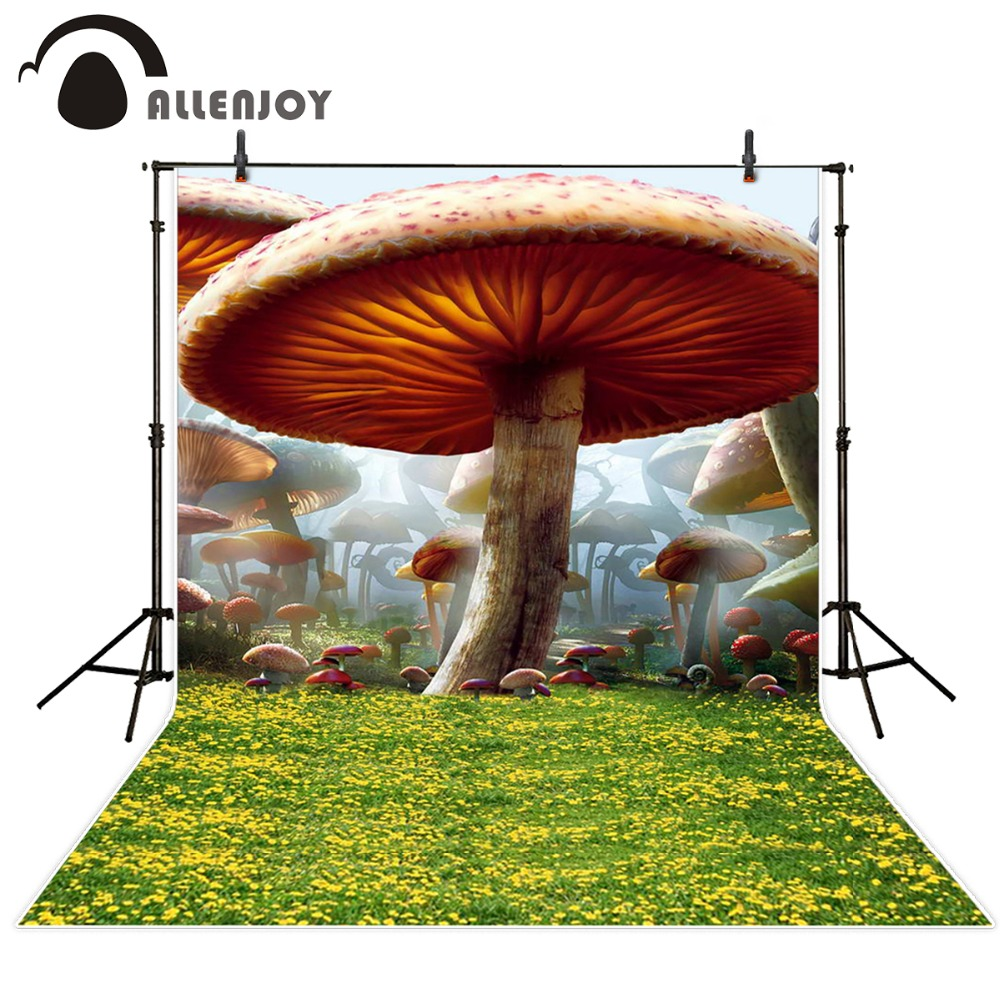 Allenjoy 10ftx6.5ft Alice fairy tale Photography Backdrop Mushroom Forest Lawn background for photo studio without stand allenjoy 10ftx6 5ft fireworks photography backdrop black night romantic wedding background for photography studio without stand