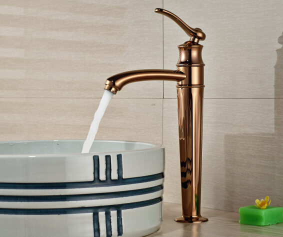 Free Shipping! Romantic Bathroom Basin Faucet Deck Mounted Sink Mixer Tap Single Handle Rose Golden Finished