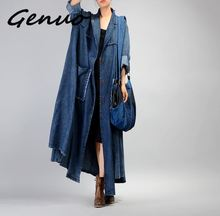 Genuo New Women Plus Size Loose Irregular Denim Trench Coat Ladies Patchwork Retro Vintage Pockets Overcoat Outwear Female
