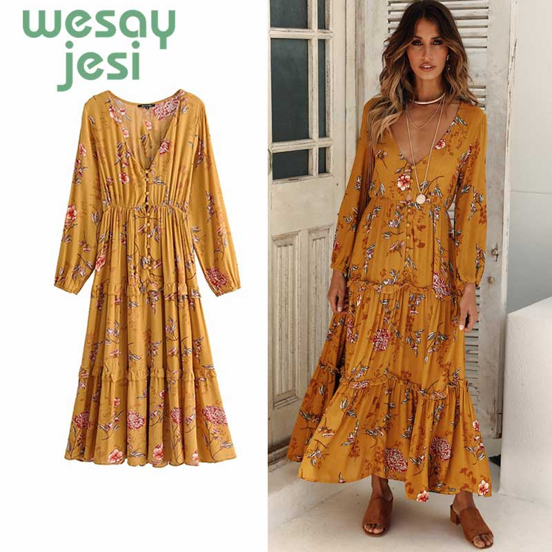 2019 Summer dress chic Floral Print Midi Dress Women V Neck Long Sleeve Autumn Dresses Button Elastic Waist Casual Beach Dress in Dresses from Women 39 s Clothing