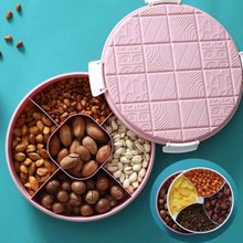 Nordic Style Double Round Dried Fruit Plate Creative Chocolate Styling Snack Candy Box Plastic Compartment with Lid Storage