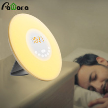 Touch Sensor Sunrise Alarm Clock Digital LED Time Display Morning Wake Up Alarm Clocks FM Radio Night Light Desktop Beside Lamp