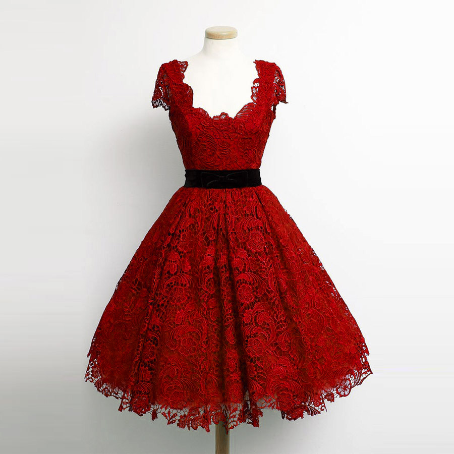 Charming Dark Red Lace Cap Sleeve Prom Dresses 2018 Elegant Knee Length A Line Plus Size