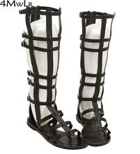 preppy style student summer casual knee high summer boots pu leather buckles caged open toe flat combat sandals gladiator rome
