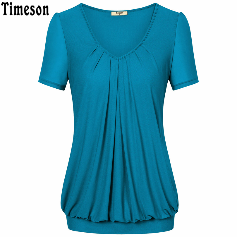 b1081da6a08 Timeson Plus Size Short Sleeve Chiffon T shirt Women Summer 2018 V Neck  Tunic Tops Pleated Casual Basic Tee Shirt Femme-in T-Shirts from Women s  Clothing on ...