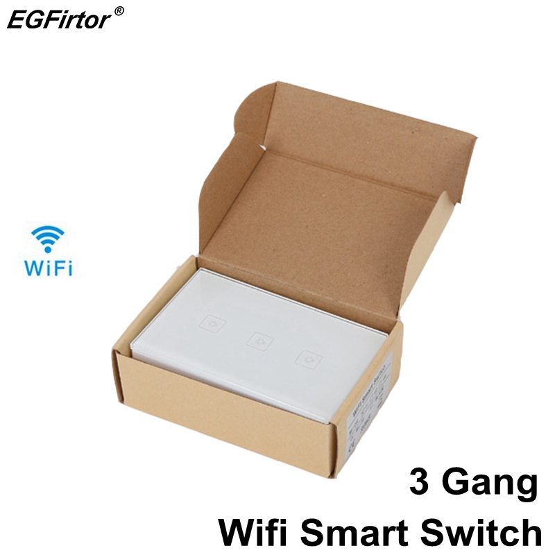 3 Gang US Standard WIFI Smart Switch Home Automation Control Touch Walling LED Light Switch Smart Home Light With APP Control