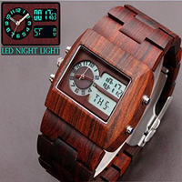 Luxury Brand Antique Mens Wood Watches Sandalwood Watch Men Quartz Analog Digital LED Wooden Wristwatch Gift His reloje Relogio