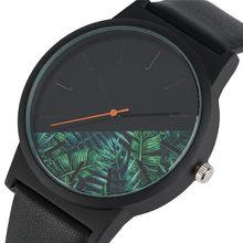 Moda Floresta Tropical Estilo Quartz Relógio de Pulso Dos Homens Relógios  Pulseira de Couro Preto das 6e1c8d927b