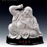 White porcelain sculpture laugh Buddha statue furnishing Carefree maitreya