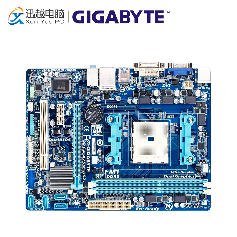 Gigabyte GA-A75M-DS2 Desktop Motherboard A75 Socket FM1 DDR3 32G SATA3 USB3.0 Micro ATX for gigabyte ga a75 d3h original used desktop motherboard for amd a75 socket fm1 for ddr3 sata3 usb3 0 atx