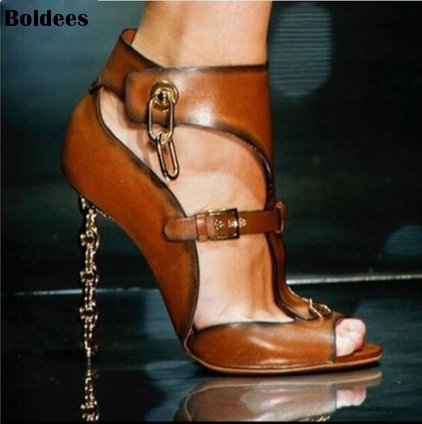 Fashion golden chains designer High heel sandals Woman metal decor peep toe Sexy Pumps party female dress shoes