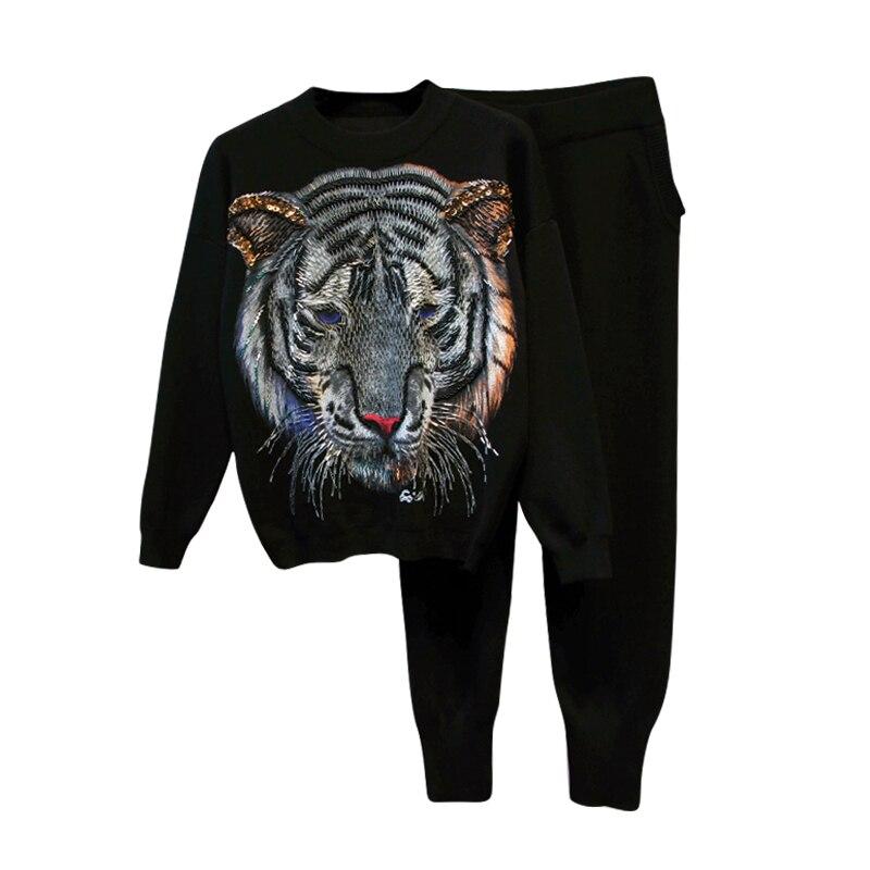 Hiver Lâche Mode Tigre Ensembles Nouveau Chandails Étudiants Costumes Gray Longueur De Pantalon black Femmes Top Tricotés Perles Automne Pleine 8wE4qR5