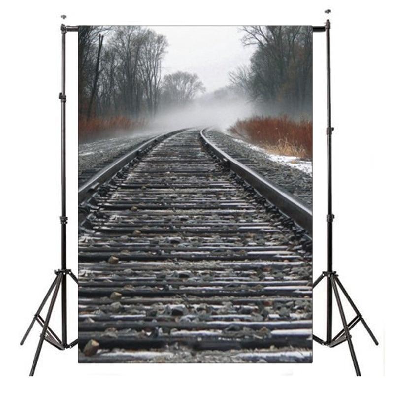 5x7ft Train Road Thin Vinyl Photography Background For Studio Photo Props Photographic Backdrops 1.5x2.1m shengyongbao 300cm 200cm vinyl custom photography backdrops brick wall theme photo studio props photography background brw 12