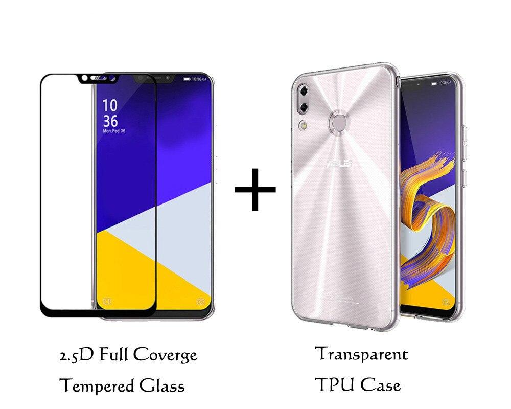 Для Asus Zenfone 5z ZS620K прозрачный силиконовый чехол из мягкого ТПУ чехол 0,3 мм 2.5D 9h закаленного Стекло Экран протектор