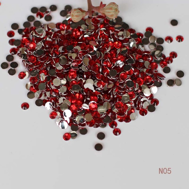 1000pcs 2mm Acrylic Rhinestone Big Red 3d Nail Jewelry Phone Diy