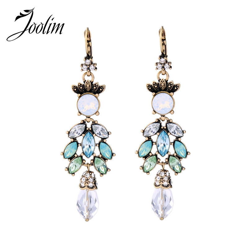 JOOLIM Black Friday Deal /Green Chandelier Earring Long Crystal Statement Earring Cocktail Jewelry Charming Accessories
