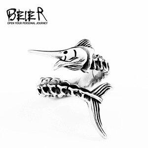 Мужское кольцо с рыбками BEIER, кольцо из нержавеющей стали 316L с животным, уникальный подарок