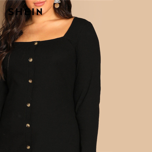 SHEIN Black Buttoned Long Sleeve Casual Plus Size Bodycon Short Dress Women Spring Office Stretchy Slim Fit Mini Dress 4