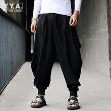 Algodón de lino mens harem holgado Pantalones japonés estilo casual suelta Boho  Pantalones mens Cruz- f19ef21599f