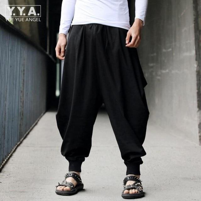 Cotton Linen Mens Harem Baggy Pants Japanese Loose Casual Style Boho Trousers  Mens Cross-pants