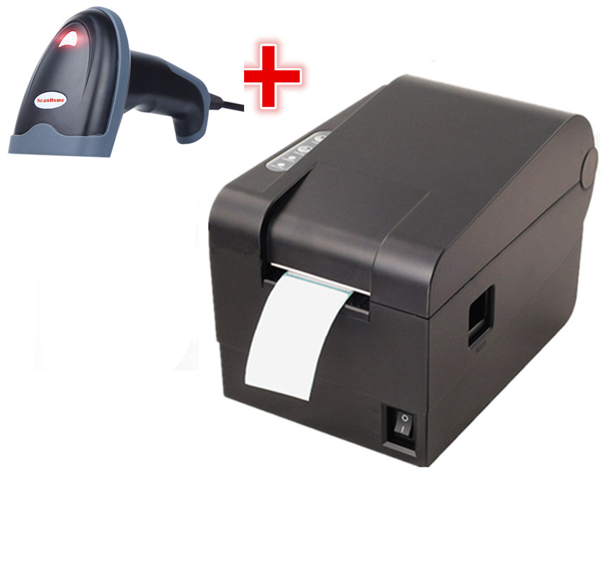 1D wired barcode Scanner+clothing tag 58mm Thermal barcode printer sticker printer Qr code the non-drying label printer