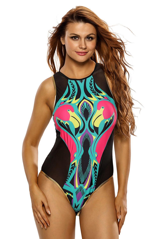 Sexy Women Cartoon Flamingo Print Zipped Black Mesh Monokini One Piece Swimsuit Bikini Swimwear Beachwear Bathingsuit Summer