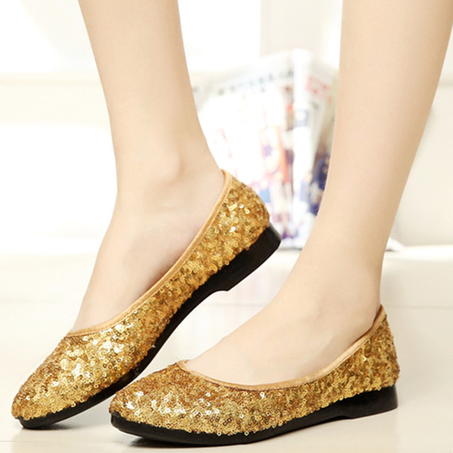 20% OFF Hot Selling Luxury Women Comfortable Gold Blue Yellow Sequined Flat  Shoes Female Casual c5ed617f3e19