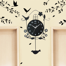 Modern Antique Cartoon Cuckoo Clock Mechanism Salon Duvar Saati Wall Clock Bird Sticker Tree Saat Clocks Zegar Pendulum Clock 57