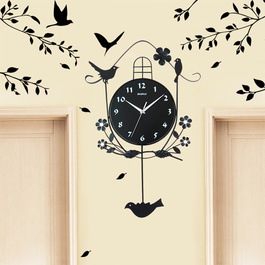 Moderne Antique dessin animé coucou horloge mécanisme Salon Duvar Saati horloge murale oiseau autocollant arbre Saat horloges Zegar pendule horloge 57